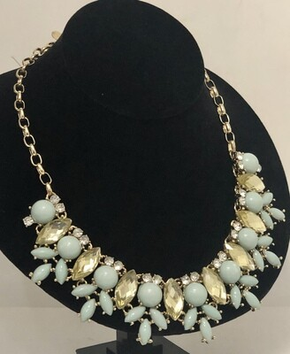 New LESLIE DANZIS Gold Rhinestone & Beaded Statement Necklace