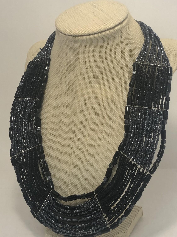 BLACK & PEWTER Multi Strand Artisan Glass Bead Necklace
