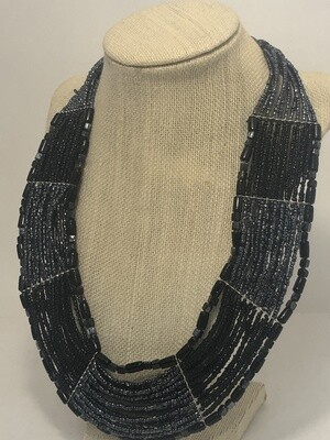 BLACK & PEWTER Multi Strand Artisan Glass Bead Necklace