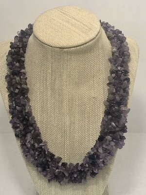 PURPLE AMETHYST Crystal Bead Necklace