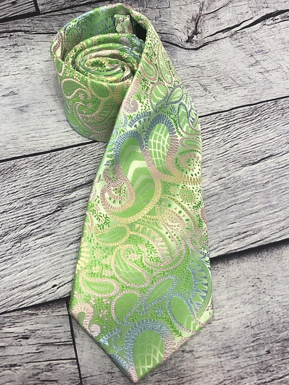 Mens Hi-Tie Lime Green Paisley Silk Neck Tie
