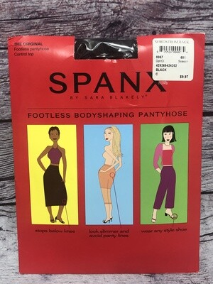 New Original SPANX Black Footless Body Shaping Pantyhose Size C Control Top