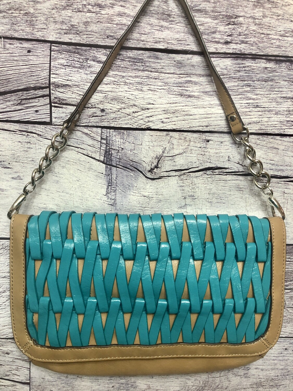 New NINE WEST Tan & Turquoise Woven 2-in-1 Clutch Shoulder Handbag