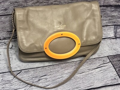 KATE SPADE Taupe Foldover Leather Shoulder Bag w/ Orange Lucite Accent
