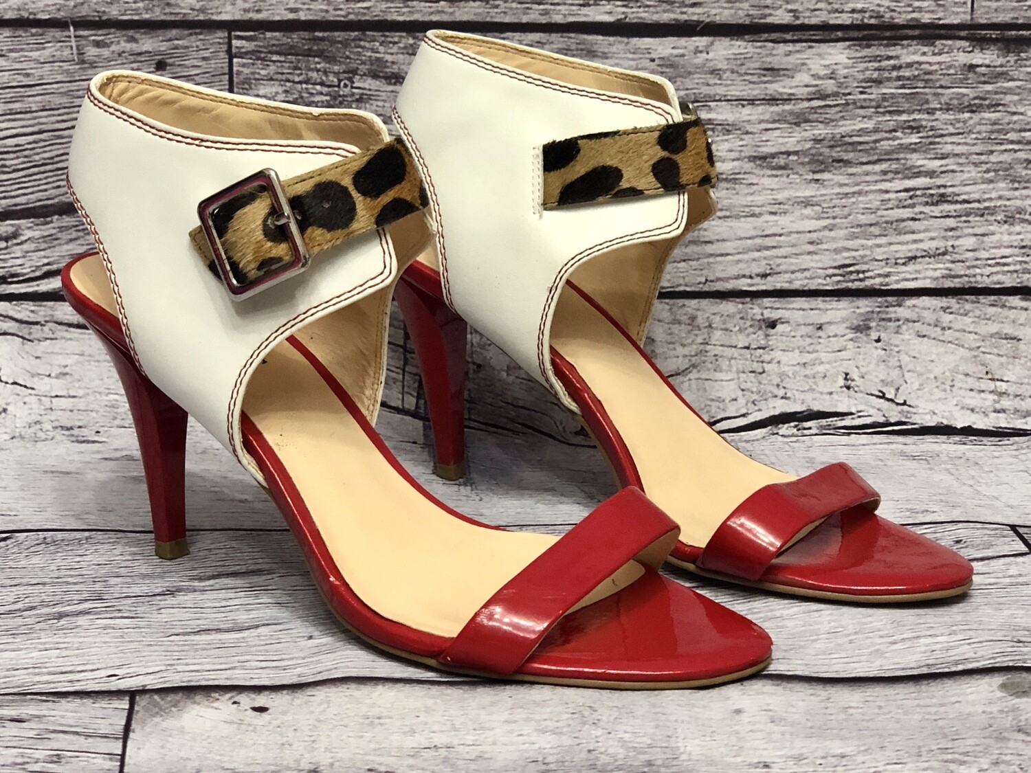GUESS Red, White & Leopard Strap Sandal Heels size 6 1/2