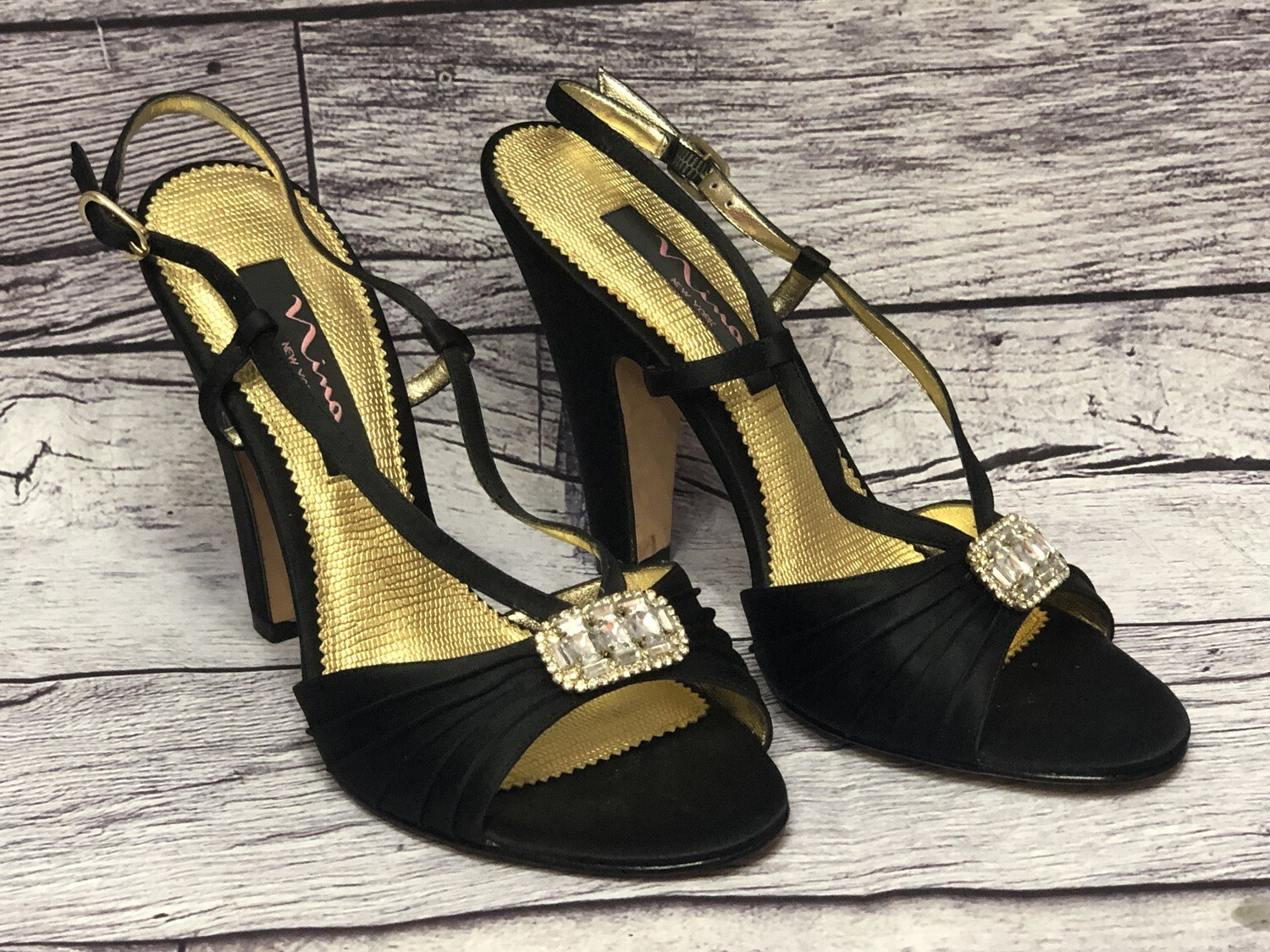 New NINA Black Satin Rhinestone Evening Strappy Heels size 8