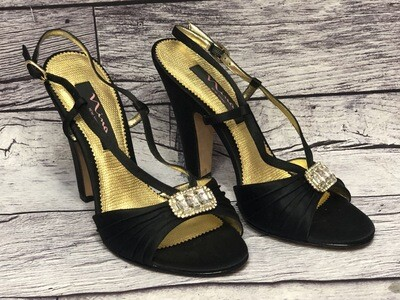 New NINA Black Satin Rhinestone Evening Strappy Heels size 8
