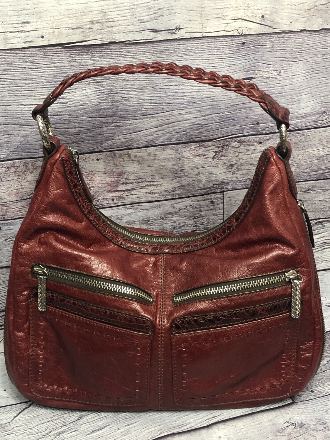 BRIGHTON Cranberry Red Leather Zip Hobo Handbag