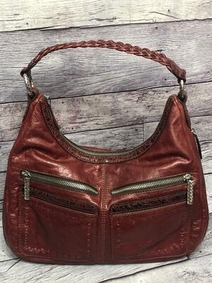BRIGHTON Cranberry Red Leather Zip Hobo Handbag