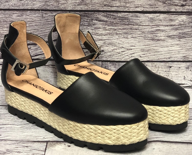 New CHANIOTAKIS Black Leather Espadrille Sandals Size 8