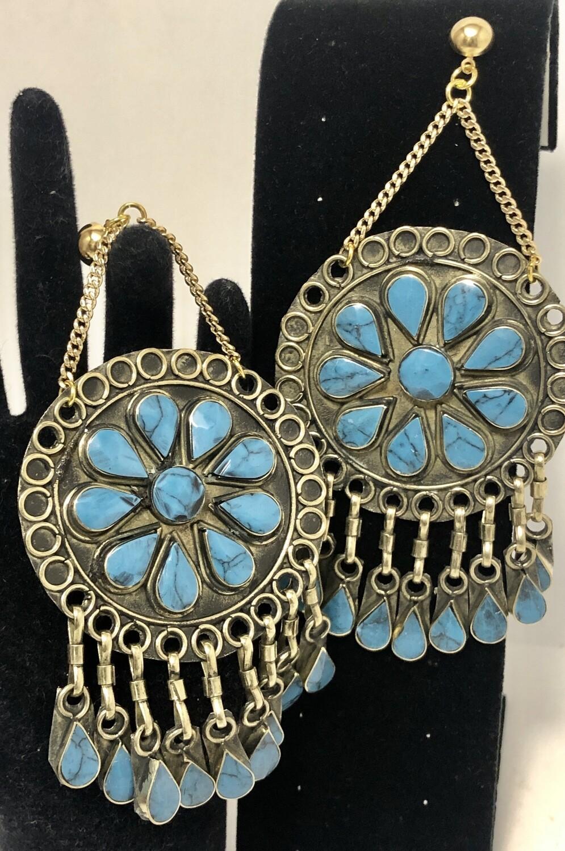 New Turquoise & Gold Artisan Design Drop Earrings