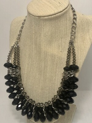 Black & Smoke Silver Beaded Statement Necklace