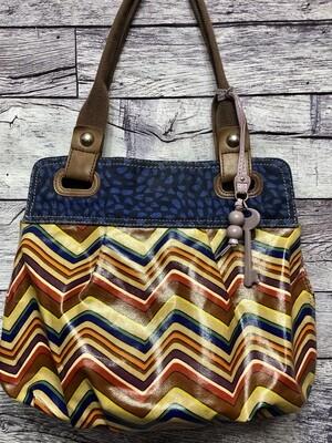 FOSSIL KeyPer MULTI COLOR Coated Canvas Large Shopper Tote Handbag