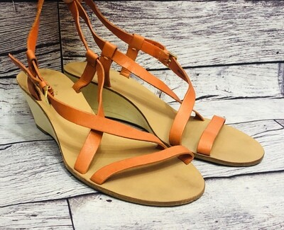KATE SPADE Orange Leather Strap Wedge Sandals size 9 1/2