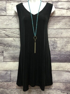 CHICOS Travelers Long Black Pullover Sleeveless Tunic