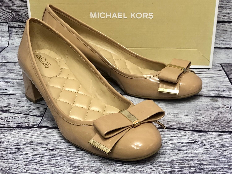 MICHAEL KORS Kiera Flex Nude Patent Leather Bow  Shoes size 8