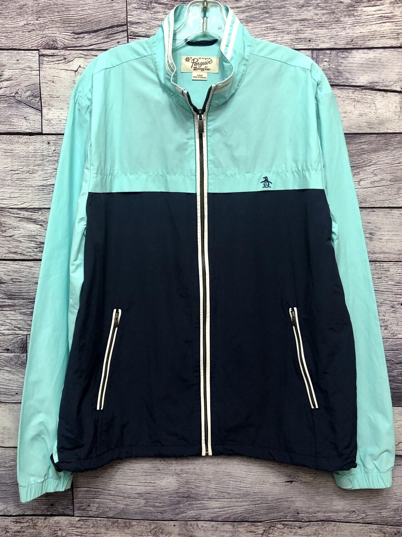 Mens Original PENGUIN 2-Tone Zip Front Nylon Jacket size Large