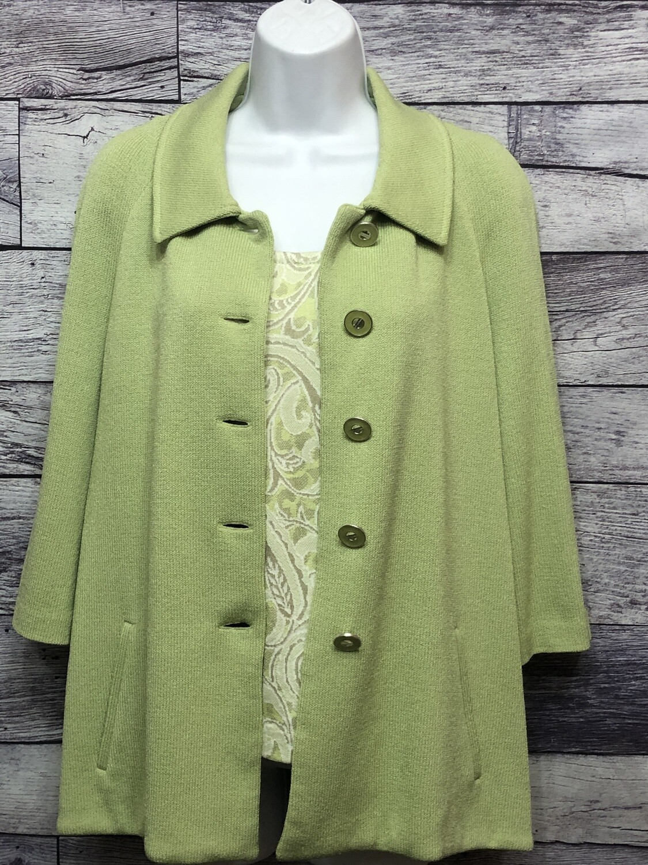 2pc. St. John Pale Lime & Taupe Santana Knit Jacket and Shell size 6