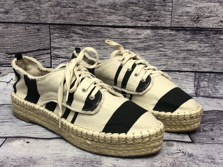 DOLCE VITA Black & Cream Stripe Lace-Up Espadrille Platform Shoes 8 1/2