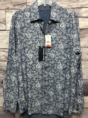New Mens REPORT COLLECTION Island Washed Paisley Button Down Shirt Medium $98