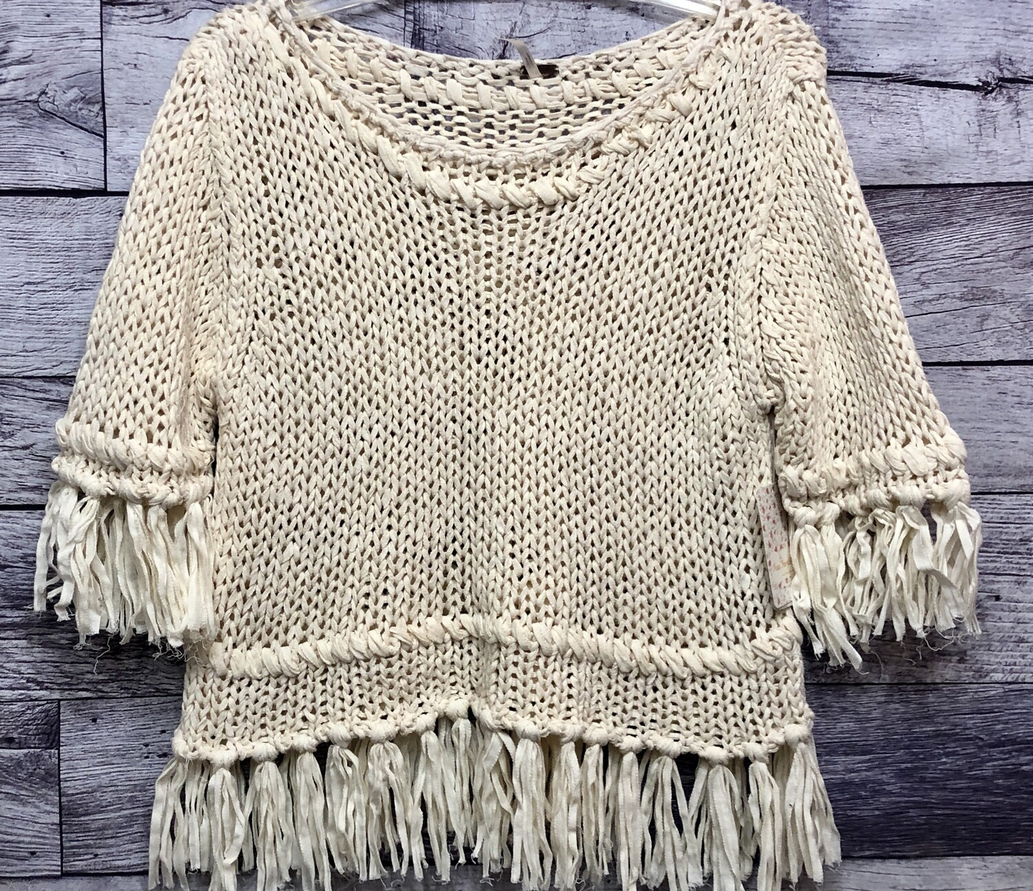 New FREE PEOPLE Woven Fringe Cotton Knit Sweater size large $108