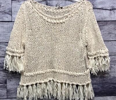 New FREE PEOPLE Woven Fringe Cotton Knit Sweater size large $108