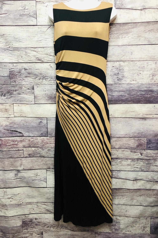 SOFT SURROUNDINGS Runched Stripe Maxi Dress Petite Small