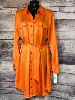 NEW RALPH LAUREN ~Lauren~ ORANGE RAYON BUTTON DOWN SHIRT DRESS 10 $150