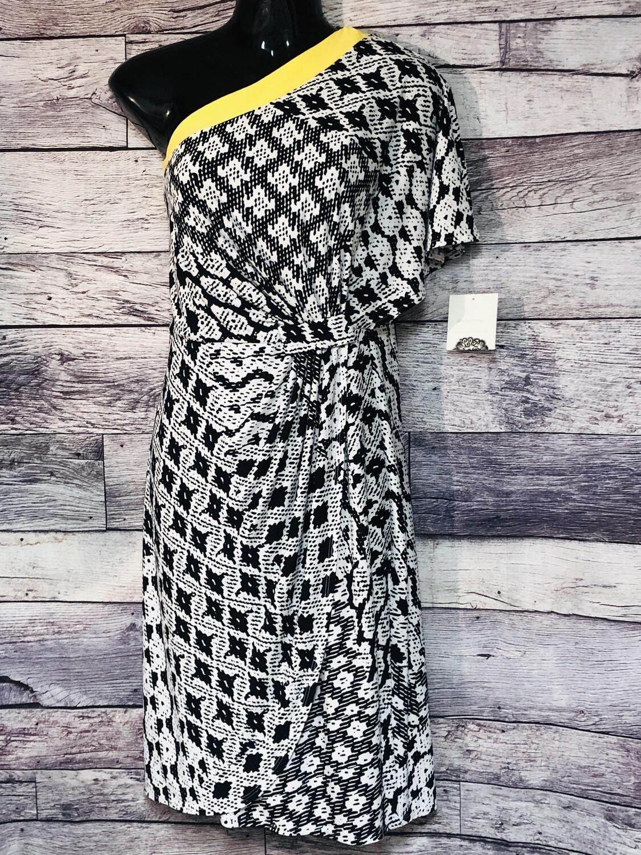 New DONNA MORGAN B/W & Yellow One Arm Dress size 12 $109