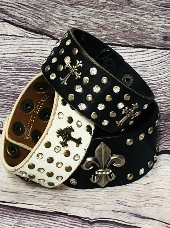 3pc BLACK & WHITE Distressed Leather Cuff  Jewel Bracelets