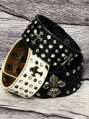 3pc BLACK & WHITE Distressed Leather Cuff  Jewel Bracelets