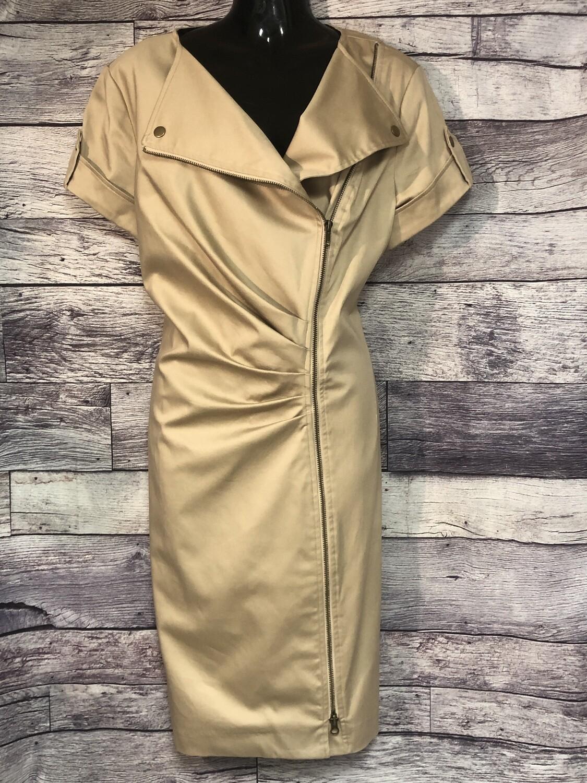 CHICOS Khaki Beige Zip Front Dress size 2 10/12