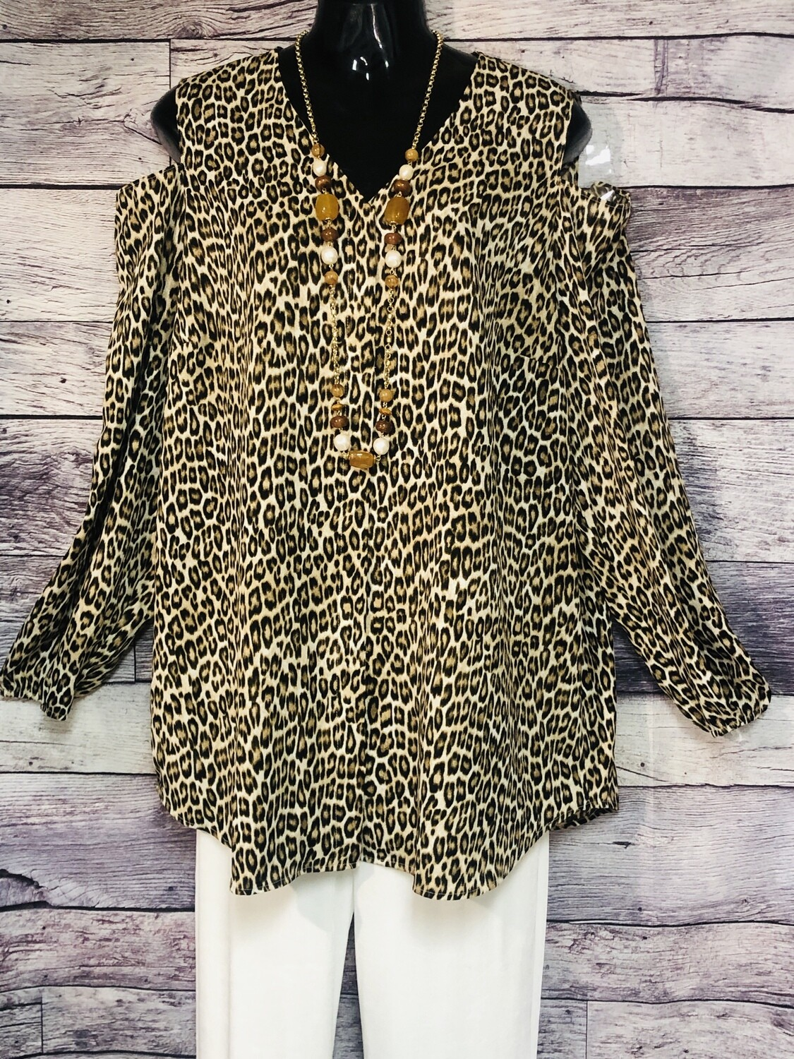 CHICOS Leopard Cut-Out Shoulder Blouse size 3
