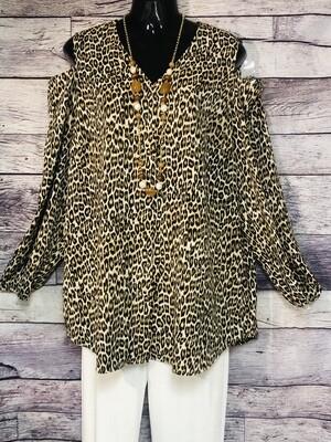 CHICOS Leopard Cut-Out Shoulder Blouse size 3