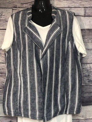 CHICOS Mixed Navy & White Linen Open Vest size 2