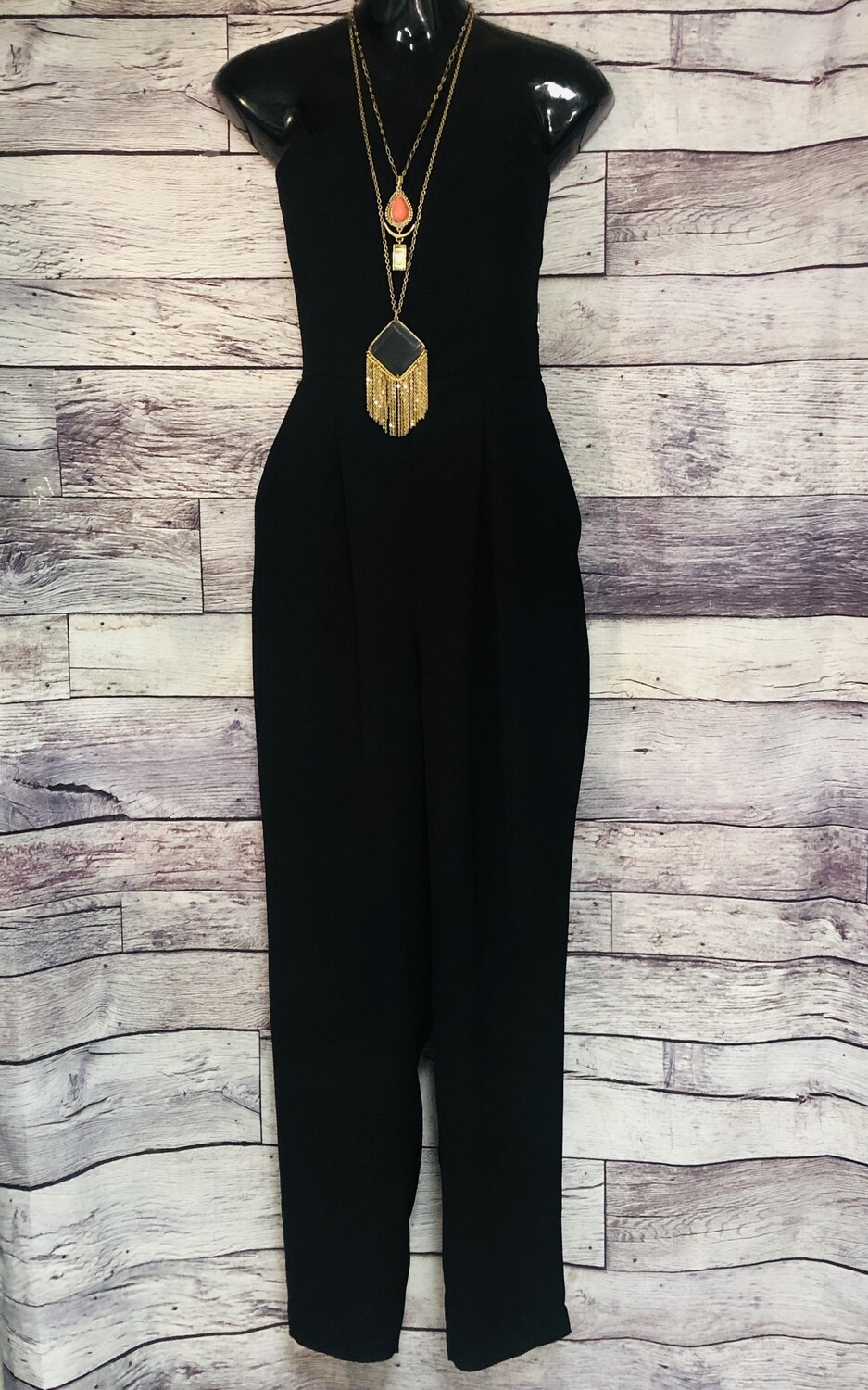 NEW VINCE CAMUTO Holiday Glam Black Strapless Jumpsuit Size 10 $149
