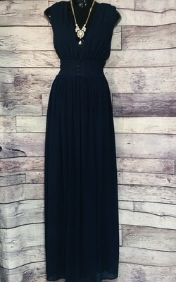 New MISS AVENUE Navy Blue Sheer Maxi Dress size Large $75