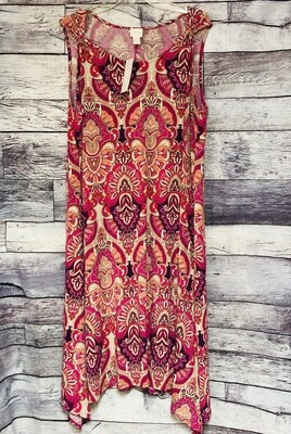 New CHICOS Shoulder Detail Midi Pattern Dress size 3 $99