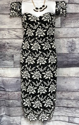 GIANNI BINI Black & White Floral Lace Fitted Dress XS