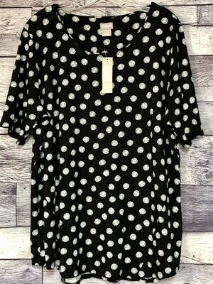 New CHICOS Polka Dot Tunic Rayon Knit Top Size 3, $59.50