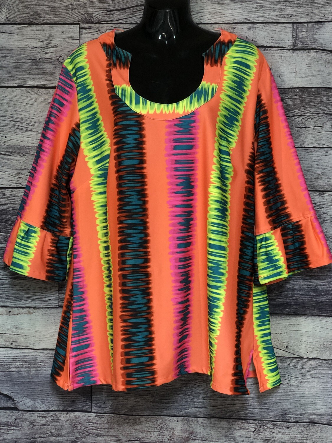 EMMA'S CLOSET Neon Print Poly Spandex Statement Top size XL