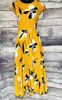 New WHO WHAT WEAR Mustard Floral  Dress Medium