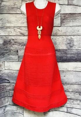 New ANTONIO MELANI Tomato Red Knit A Line Dress size Medium $149