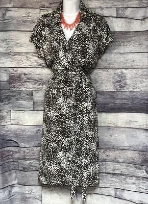 ANN TAYLOR Brown & White Print Wrap Dress size 16