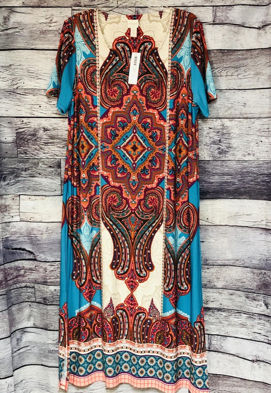 New CHICOS Ethnic Medallion Midi Dress 3P $119