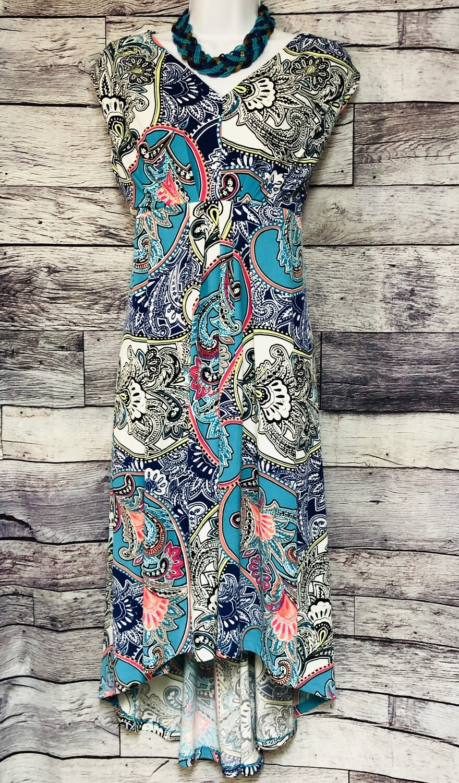 New CHICOS Artistic Paisley Hi-Low Maxi Dress 3P $119