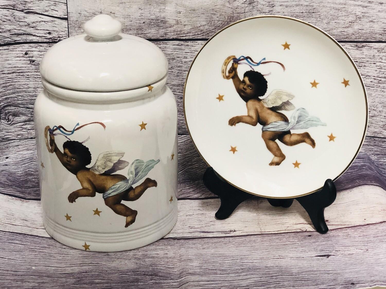 "The Doll Menagerie Mesquite Texas ""Black Angel"" 2pc Decorative Plate & Crock Jar"