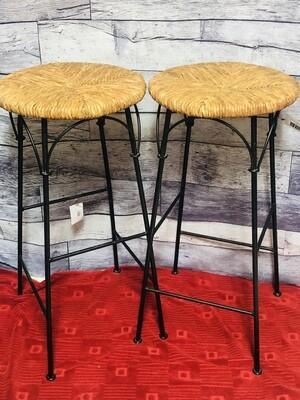 2pc Wicker & Wrought Iron Decorative  Stools