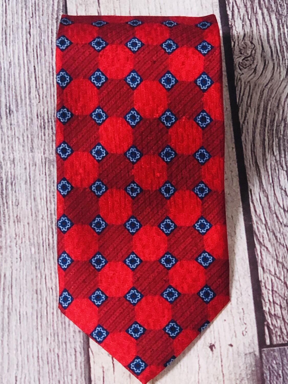 Designer Mens ERMENGILDO ZEGNA Vibrant Red Pattern Silk Neck Tie