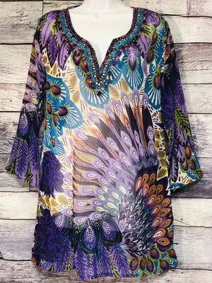 DOUBLE DECKER Purple Peacock Print Rayon Tunic Medium